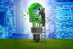 The concept of energy efficiency with lightbulb. Concept of energy efficiency with lightbulb stock image