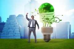 The concept of energy efficiency with lightbulb royalty free stock images