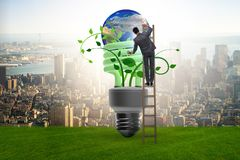 The concept of energy efficiency with lightbulb. Concept of energy efficiency with lightbulb stock photos