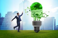 The concept of energy efficiency with lightbulb. Concept of energy efficiency with lightbulb royalty free stock image