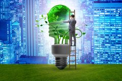 The concept of energy efficiency with lightbulb. Concept of energy efficiency with lightbulb stock illustration
