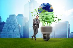 The concept of energy efficiency with lightbulb stock images