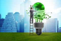The concept of energy efficiency with lightbulb royalty free stock photos