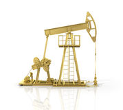 Concept of energy resourse. Gold oil tower Stock Images