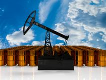 Concept of energy resourse. Gold oil tower. 3d render. The concept of energy resources. Gold oil tower on a white background Royalty Free Stock Photo