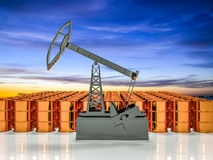 Concept of energy resourse. Gold oil tower. 3d render Stock Images