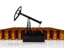 Concept of energy resourse. Gold oil tower. 3d render Royalty Free Stock Photo