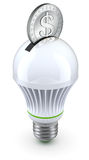 Concept for energy saving with led bulb and coin Stock Images