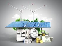 Concept of energy saving solar panels and a windmill near the me. Ter of electricity 3d render on Royalty Free Stock Images