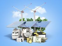 Concept of energy saving solar panels and a windmill near the me. Ter of electricity 3d render on blue stock photo