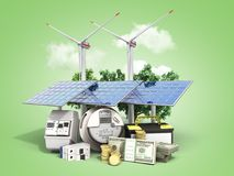 concept of energy saving solar panels and a windmill near the me royalty free stock images