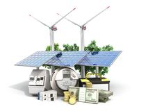 Concept of energy saving solar panels and a windmill near the me. Ter of electricity 3d render on white royalty free stock photo