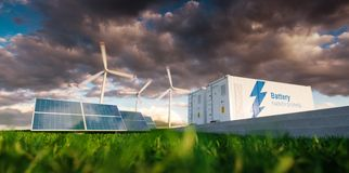 Concept of energy storage system. Renewable energy - photovoltaics, wind turbines and Li-ion battery container in fresh nature. 3. D rendering royalty free illustration