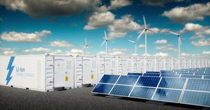 Concept of energy storage system. Renewable energy - photovoltaics, wind turbines and Li-ion battery container in fresh nature with distant blurred city in royalty free illustration