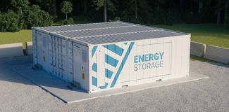 Concept of energy storage unit consisting of multiple conected containers with batteries.