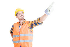 Concept of an engineer acting like super hero and smiling Stock Images