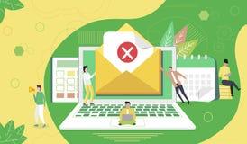 Concept envelope with rejected letter vector illustration
