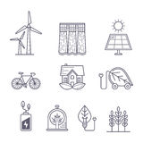 Concept for environment, ecology, ecosystem and green technology themes. Vector outline logo icons set. Stock Photography