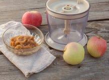 Concept of environmental children's homemade applesauce Royalty Free Stock Photo