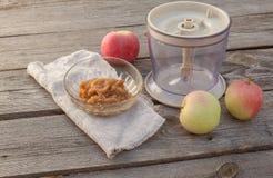 Concept of environmental children's homemade applesauce Royalty Free Stock Image