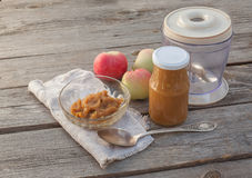 The concept of environmental children's homemade applesauce Royalty Free Stock Photography