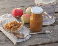 The concept of environmental children's homemade applesauce Stock Photo