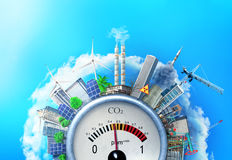 The concept of environmental pollution. City around a carbon dioxide sensor against a blue sky. The concept of safe energy stock illustration