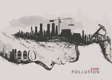 Concept of environmental pollution by factories against nature Stock Image