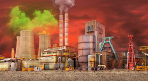 The concept of environmental pollution. Working Plant on a background of dirty skies, and dry ground. Save the planet. 3D illustration Stock Image