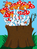 The concept of environmentally friendly residential neighborhood. Mushrooms in the form of residential houses grow on felled tree stock illustration