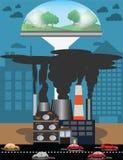 Concept environnemental, pollution atmosphérique du trafic et à l'avenir, h Photographie stock