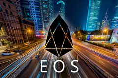 Concept of EOS coin, a Cryptocurrency blockchain, Digital money. For royalty free stock photography