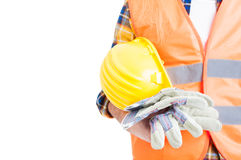 Concept of equipment with helmet, vest and gloves in close-up Royalty Free Stock Photo