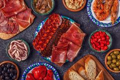 Concept espagnol typique des tapas Photos stock