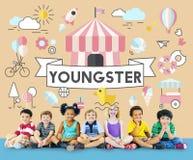 Concept espiègle de la jeunesse énergique d'enfants d'enfants Photographie stock
