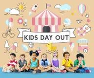 Concept espiègle de la jeunesse énergique d'enfants d'enfants Images libres de droits