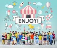 Concept espiègle de la jeunesse énergique d'enfants d'enfants Photo stock