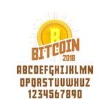 Concept et police de Bitcoin Argent de Digital Blockchain, symbole de finances Signe de logo de Cryptocurrency Photo libre de droits