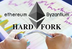 Concept of ethereum hardfork, split by byzantium, ethereum Crypto. Currency stock images