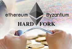 Concept of ethereum hardfork, split by byzantium, ethereum Crypto. Currency royalty free stock photo