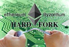 Concept of ethereum hardfork, split by byzantium, ethereum Crypto. Currency royalty free stock image