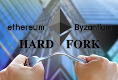 Concept of ethereum hardfork, split by byzantium, ethereum Crypto. Currency stock photography