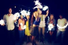 Concept ethnique divers de bonheur de loisirs de partie d'amitié Photos libres de droits