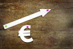 Concept of euro exchange rate growth Royalty Free Stock Photo