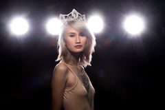 Concept every Girl Dream to Miss beauty Universe. Contest. Rural unique Bone Jawline Woman warships wear Diamond Silver Crown as Final want in Life, studio royalty free stock image