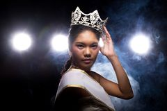 Concept every Girl Dream to Miss beauty Universe. Contest. Rural unique Bone Jawline Woman warships wear Diamond Silver Crown as Final want in Life, studio stock images