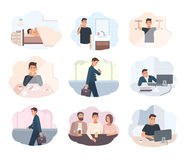 Concept everyday routine. Set of images schedule working day business man. Employment of young office worker Royalty Free Stock Images