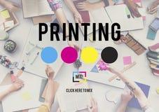 Concept excentré de media d'industrie de couleur d'encre de processus d'impression image libre de droits