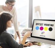 Concept excentré de media d'industrie de couleur d'encre de processus d'impression Photos libres de droits