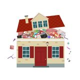 The concept of excessive consumerism. House bursting of stuff. Vector illustration. The concept of excessive consumerism. House bursting of stuff royalty free illustration